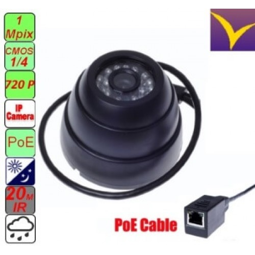 Network Dome IP Camera c POE 1,0 Mpix 720P IP016